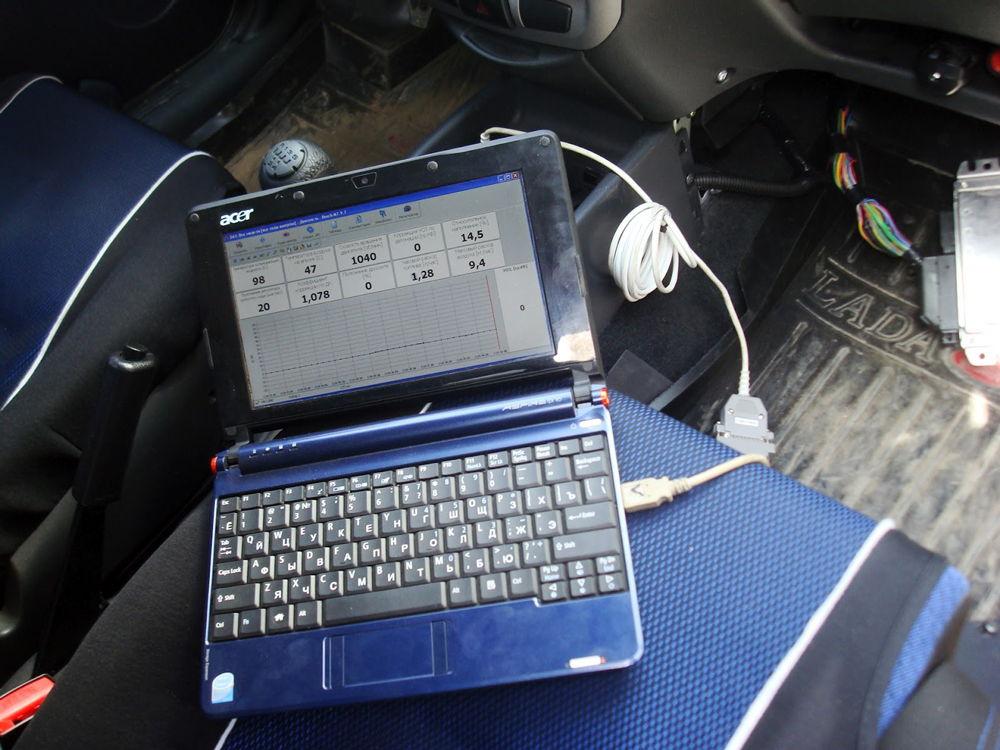 Ноутбук на сидении автомобиля