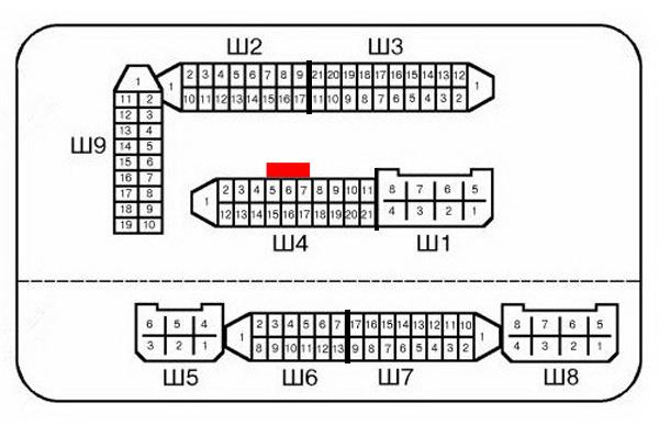 Нумерация штекеров в соединительных колодках монтажного блока ВАЗ-2115