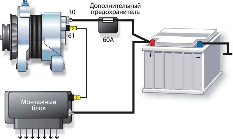 Схема генератора и АКБ