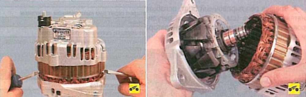Отсоединение статора от крышки с ротором