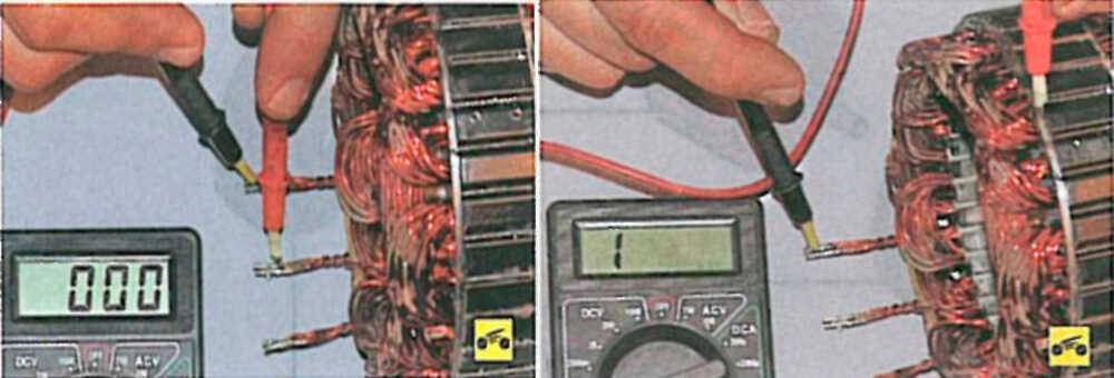 Проверка цепи обмотки ротора на массу