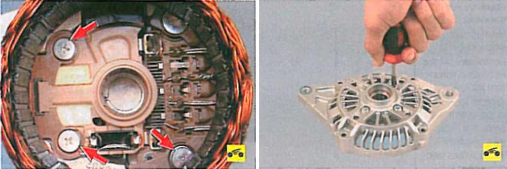 Снятие щёткодержателя с диодным мостом и регулятором