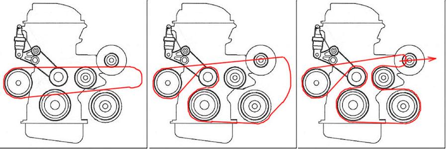 схема приводного ремня